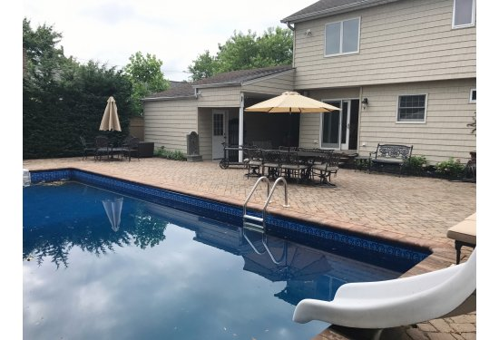Beautiful Backyard Oasis with Built in Pool & XL Patio with Pavers