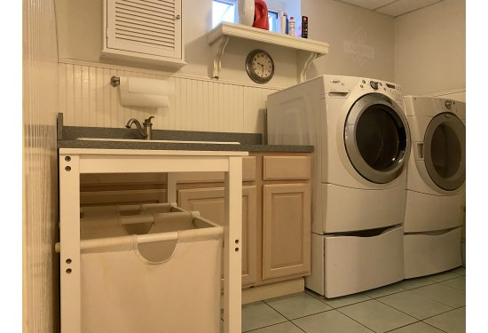 Basement Laundry with Sink & XL Front Load Washer & Dryer