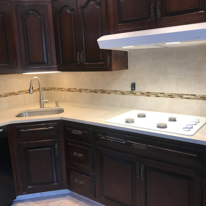 Renovated Kitchen Countertop, Backsplash & Stove top